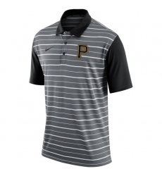 MLB Men's Pittsburgh Pirates Nike Gray Dri-FIT Stripe Polo