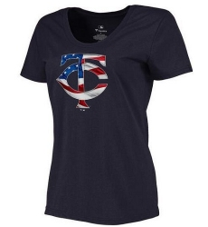 MLB Women's Minnesota Twins Navy Banner Wave Slim Fit T-Shirt