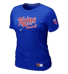 MLB Women's Minnesota Twins Nike Practice T-Shirt - Blue