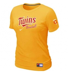 MLB Women's Minnesota Twins Nike Practice T-Shirt - Yellow