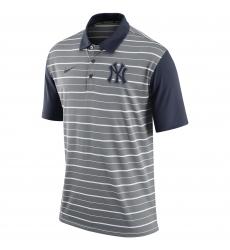 MLB Men's New York Yankees Nike Gray Dri-FIT Stripe Polo