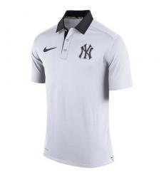 MLB Men's New York Yankees Nike White Authentic Collection Dri-FIT Elite Polo