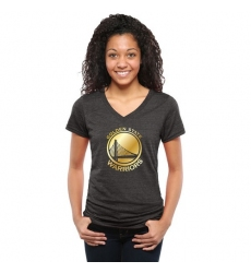 NBA Golden State Warriors Women's Gold Collection V-Neck Tri-Blend T-Shirt - Black