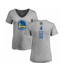 NBA Women's Nike Golden State Warriors #4 Quinn Cook Ash Backer T-Shirt