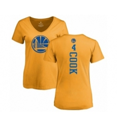 NBA Women's Nike Golden State Warriors #4 Quinn Cook Gold One Color Backer Slim-Fit V-Neck T-Shirt