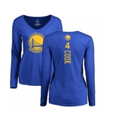 NBA Women's Nike Golden State Warriors #4 Quinn Cook Royal Blue Backer Long Sleeve T-Shirt