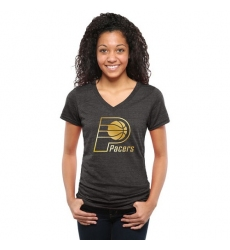 NBA Indiana Pacers Women's Gold Collection V-Neck Tri-Blend T-Shirt - Black