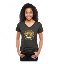 NBA Philadelphia 76ers Women's Gold Collection V-Neck Tri-Blend T-Shirt - Black