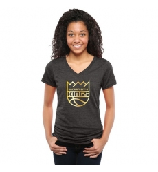NBA Sacramento Kings Women's Gold Collection V-Neck Tri-Blend T-Shirt - Black
