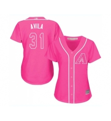 Women's Arizona Diamondbacks #31 Alex Avila Replica Pink Fashion Baseball Jersey