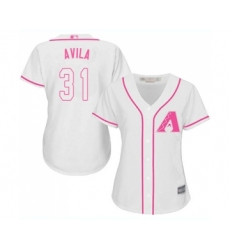 Women's Arizona Diamondbacks #31 Alex Avila Replica White Fashion Baseball Jersey