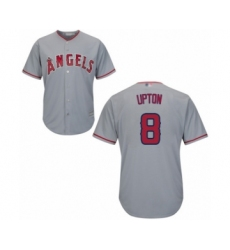 Men's Los Angeles Angels of Anaheim #8 Justin Upton Replica Grey Road Cool Base Baseball Jersey