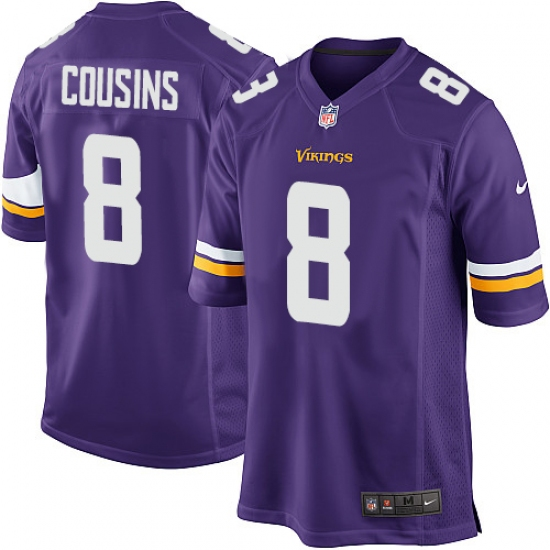 Men's Nike Minnesota Vikings #8 Kirk Cousins Game Purple Team Color NFL Jersey
