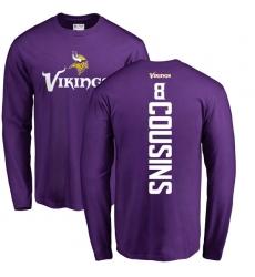 NFL Nike Minnesota Vikings #8 Kirk Cousins Purple Backer Long Sleeve T-Shirt