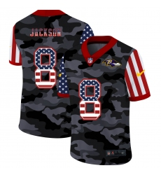 Men's Baltimore Ravens #8 Lamar Jackson Camo Flag Nike Limited Jersey