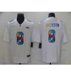 Men's Baltimore Ravens #8 Lamar Jackson White Rainbow Version Nike Limited Jersey