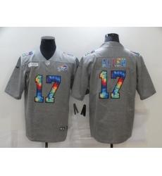Men's Buffalo Bills #17 Josh Allen Gray Rainbow Version Nike Limited Jersey