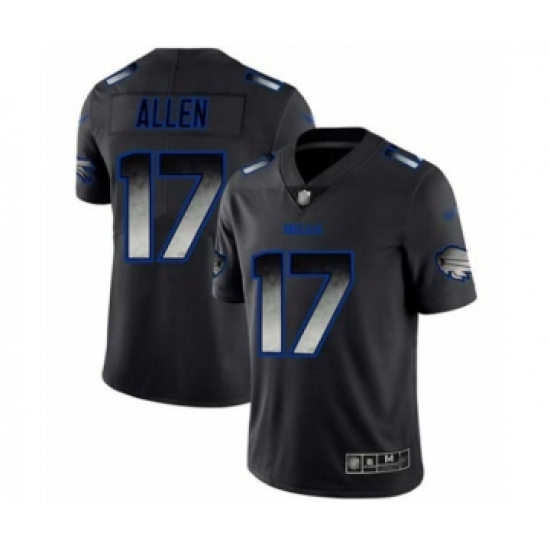 Men's Buffalo Bills #17 Josh Allen Limited Black Smoke Fashion Football Jersey
