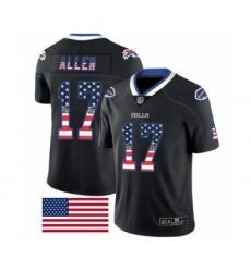 Men's Nike Buffalo Bills #17 Josh Allen Limited Black Rush USA Flag NFL Jersey