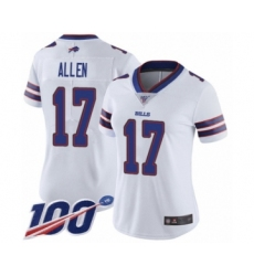 Women's Nike Buffalo Bills #17 Josh Allen White Vapor Untouchable Limited Player 100th Season NFL Jersey