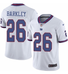 Men's Nike New York Giants #26 Saquon Barkley Elite White Rush Vapor Untouchable NFL Jersey