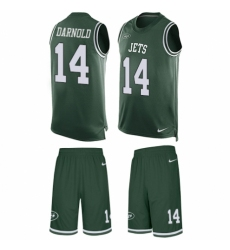 Men's Nike New York Jets #14 Sam Darnold Limited Green Tank Top Suit NFL Jersey
