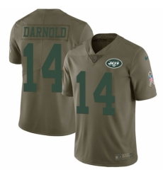 Men's Nike New York Jets #14 Sam Darnold Limited Olive 2017 Salute to Service NFL Jersey