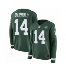 Women's Nike New York Jets #14 Sam Darnold Limited Green Therma Long Sleeve NFL Jersey
