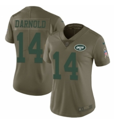 Women's Nike New York Jets #14 Sam Darnold Limited Olive 2017 Salute to Service NFL Jersey