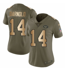 Women's Nike New York Jets #14 Sam Darnold Limited Olive/Gold 2017 Salute to Service NFL Jersey