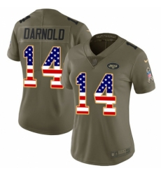 Women's Nike New York Jets #14 Sam Darnold Limited Olive/USA Flag 2017 Salute to Service NFL Jersey