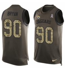 Men's Nike Jacksonville Jaguars #90 Taven Bryan Limited Green Salute to Service Tank Top NFL Jersey