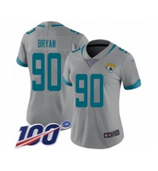 Women's Jacksonville Jaguars #90 Taven Bryan Silver Inverted Legend Limited 100th Season Football Jersey