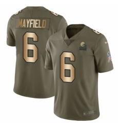 Men's Nike Cleveland Browns #6 Baker Mayfield Limited Olive Gold 2017 Salute to Service NFL Jersey