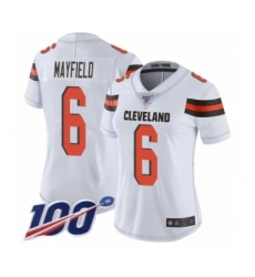 Women's Cleveland Browns #6 Baker Mayfield White 100th Season Vapor Untouchable Limited Player Football Jersey