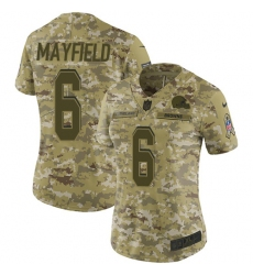 Women's Nike Cleveland Browns #6 Baker Mayfield Limited Camo 2018 Salute to Service NFL Jersey