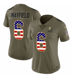 Women's Nike Cleveland Browns #6 Baker Mayfield Limited Olive USA Flag 2017 Salute to Service NFL Jersey