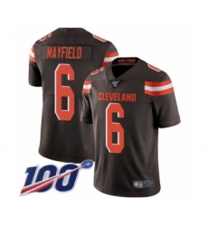 Youth Cleveland Browns #6 Baker Mayfield Brown Team Color 100th Season Vapor Untouchable Limited Player Football Jersey