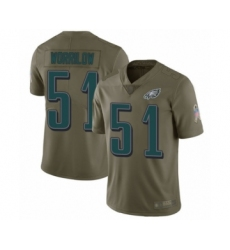 Youth Philadelphia Eagles #51 Paul Worrilow Limited Olive 2017 Salute to Service Football Jersey