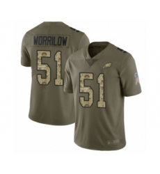 Youth Philadelphia Eagles #51 Paul Worrilow Limited Olive Camo 2017 Salute to Service Football Jersey