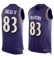Men's Nike Baltimore Ravens #83 Willie Snead IV Elite Purple Player Name & Number Tank Top NFL Jersey