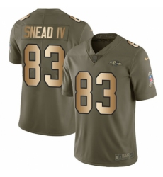 Men's Nike Baltimore Ravens #83 Willie Snead IV Limited Olive/Gold Salute to Service NFL Jersey