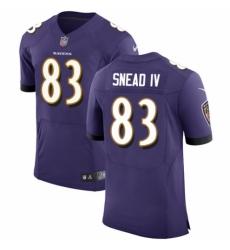 Men's Nike Baltimore Ravens #83 Willie Snead IV Purple Team Color Vapor Untouchable Elite Player NFL Jersey