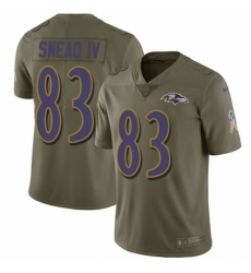 Youth Nike Baltimore Ravens #83 Willie Snead IV Limited Olive 2017 Salute to Service NFL Jersey