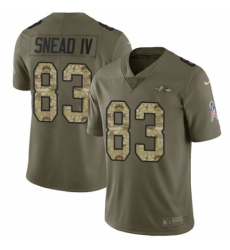 Youth Nike Baltimore Ravens #83 Willie Snead IV Limited Olive/Camo Salute to Service NFL Jersey