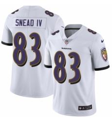 Youth Nike Baltimore Ravens #83 Willie Snead IV White Vapor Untouchable Elite Player NFL Jersey