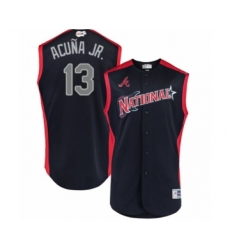 Youth Atlanta Braves #13 Ronald Acuna Jr. Authentic Navy Blue National League 2019 Baseball All-Star Jersey