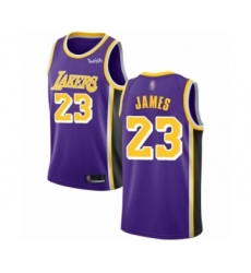 Men's Los Angeles Lakers #23 LeBron James Authentic Purple Basketball Jerseys - Statement Editi