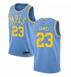Men's Nike Los Angeles Lakers #23 LeBron James Authentic Blue Hardwood Classics NBA Jersey