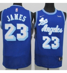 Men's Nike Los Angeles Lakers #23 LeBron James Authentic Blue Jerseys
